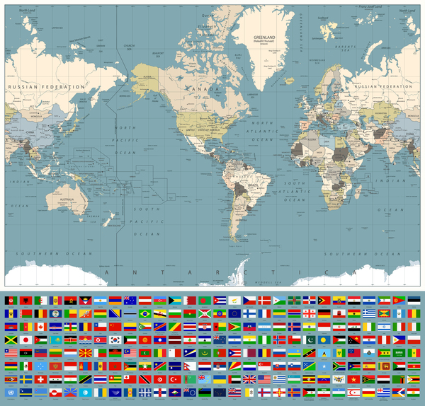 World Maps With World Flags Vector Free Download