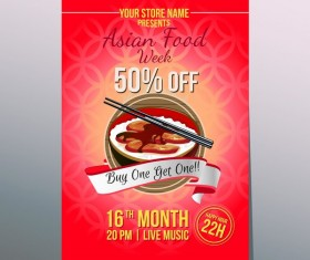 asian food week poster vector