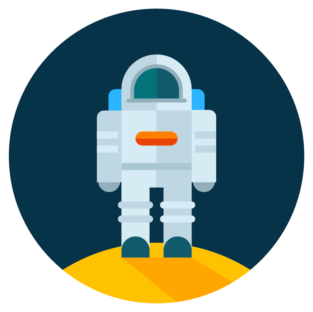 astronaut moon icon vector
