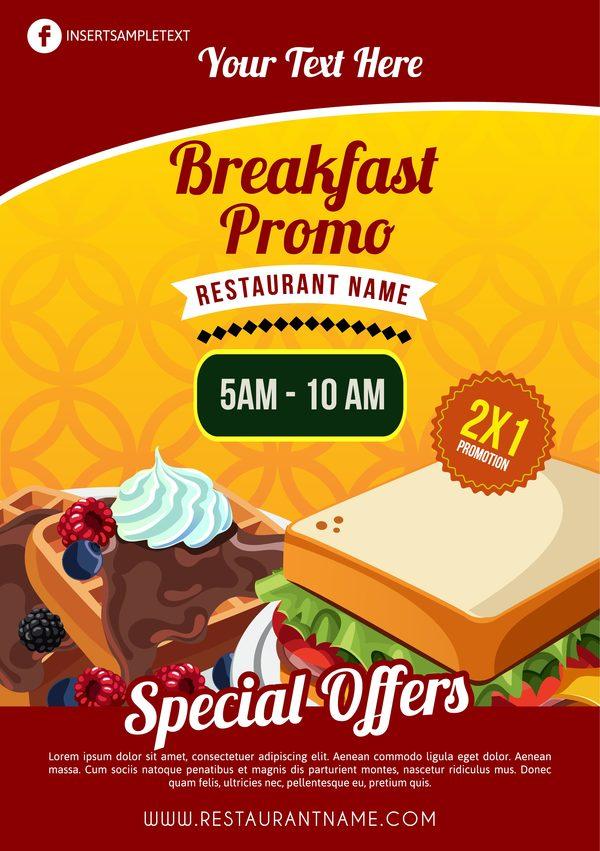 breakfast brochure vector template