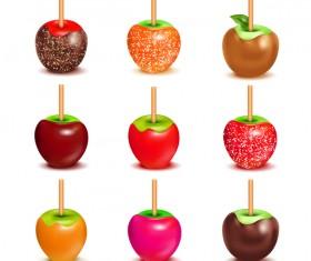 caramel apple assortment set vector