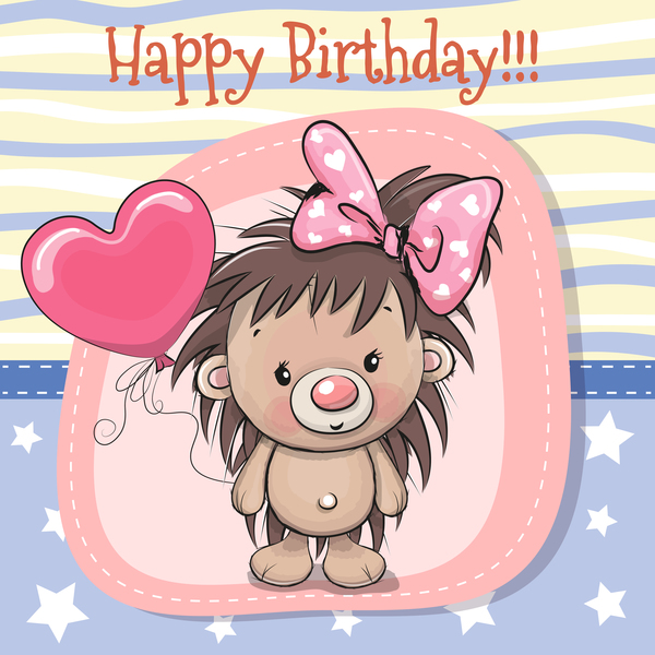 cartoon hedgehogs with birthday card vector