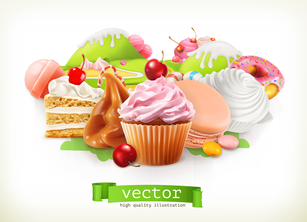 desserts with cupcake vector illustration 01