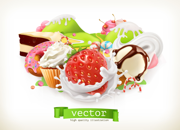 desserts with cupcake vector illustration 02
