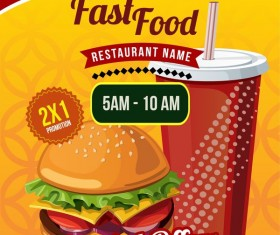 fast food poster template design vector