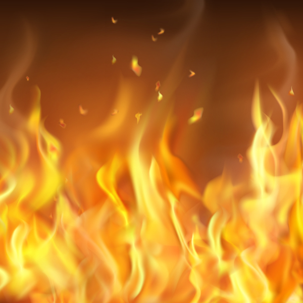 fire flames with smoke blurs background vector