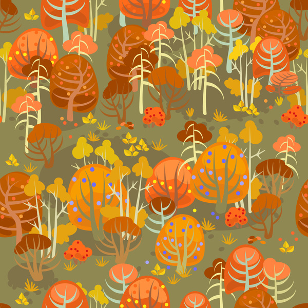 forest autumn seamless pattern vector 02
