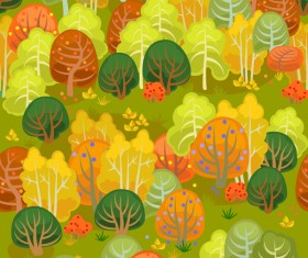 forest autumn seamless pattern vector 03