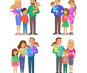 happy family cartoon illustration vector 01
