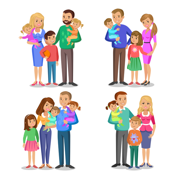 happy family cartoon illustration vector 01
