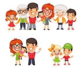 happy family cartoon illustration vector 02