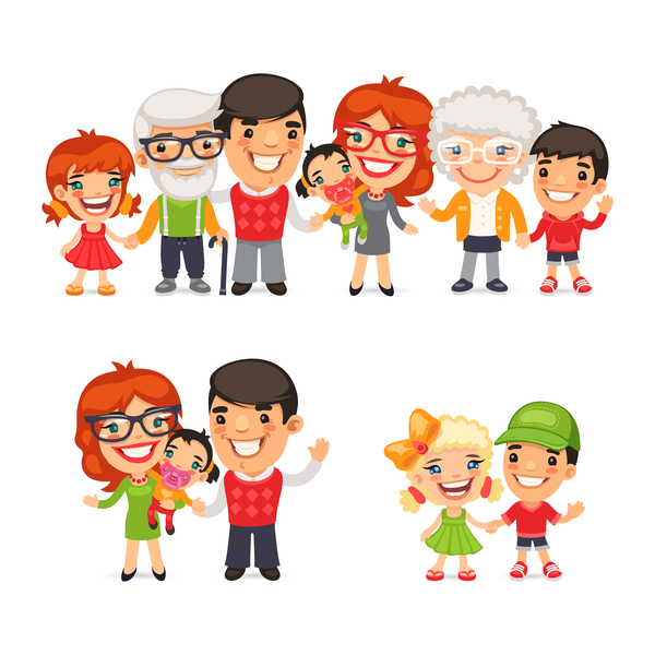 happy family cartoon illustration vector 02