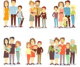 happy family cartoon illustration vector 03