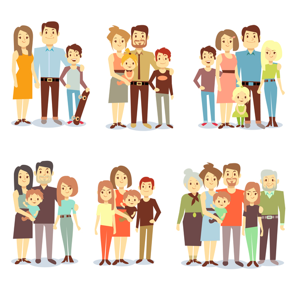 Cartoon family of 10