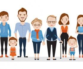 happy family cartoon illustration vector 04