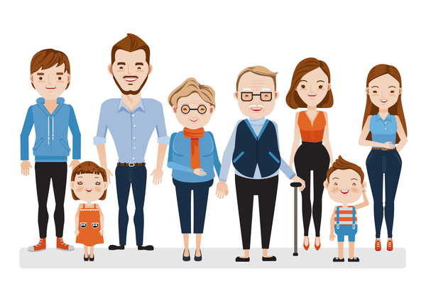 happy family cartoon illustration vector 04