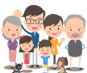 happy family cartoon illustration vector 05