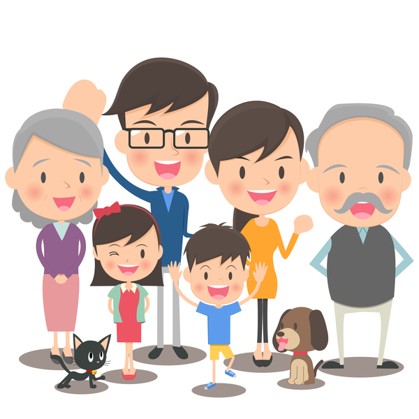 happy family cartoon illustration vector 05