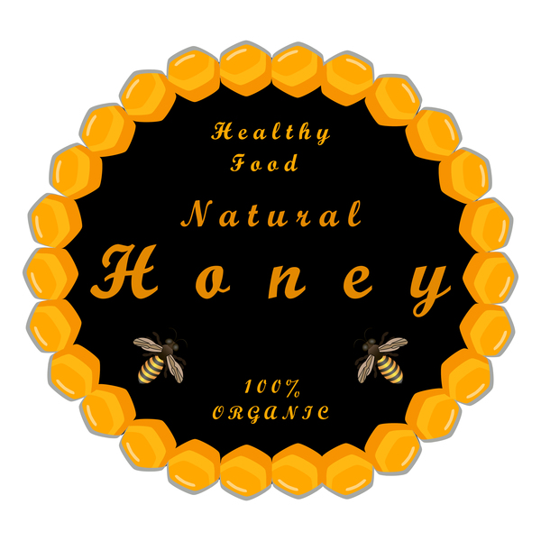 healthy food honey circles background vector 02