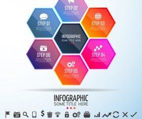 hexagon with infographic colored vector template 02