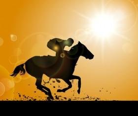 horseman silhouette vector material 01