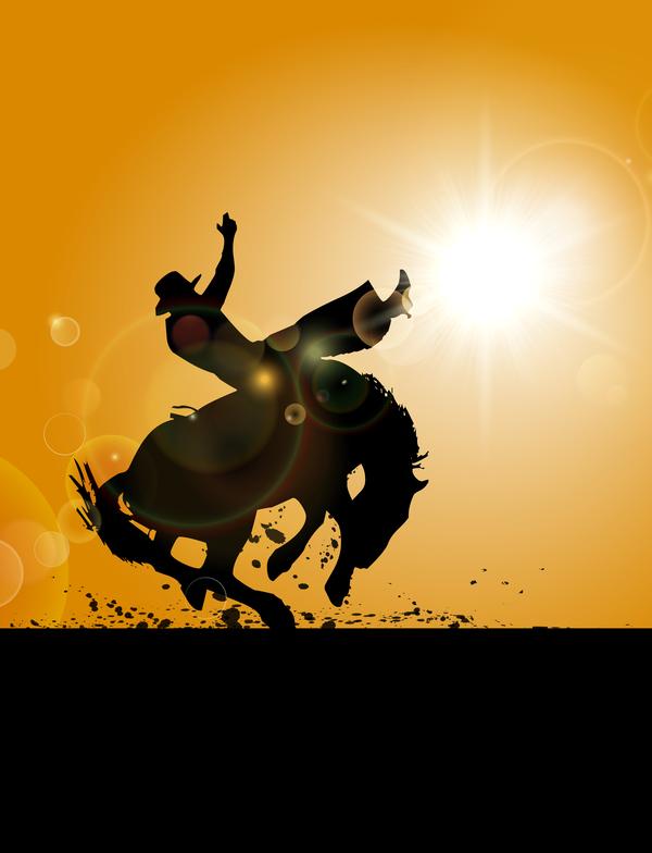 horseman silhouette vector material 02
