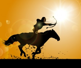 horseman with bow and arrow silhouette vector