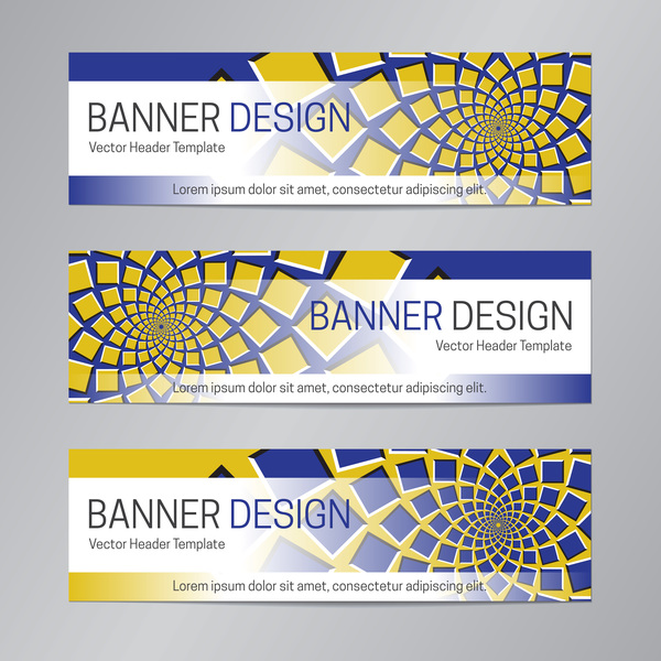 illusion banner vector header template vector 01