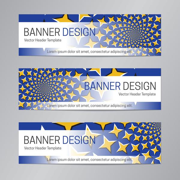 illusion banner vector header template vector 09