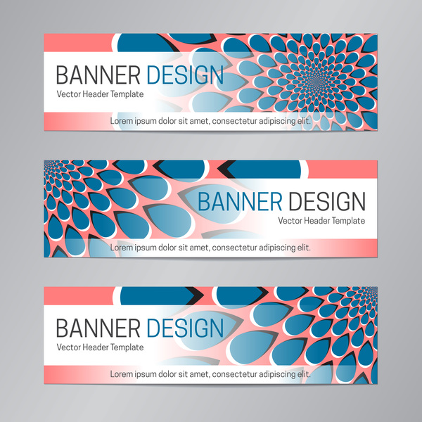 illusion banner vector header template vector 11
