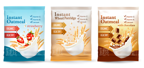 instant oatmeal package design vector
