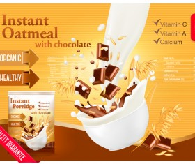 instant oatmeal with chocolate poster vector 01