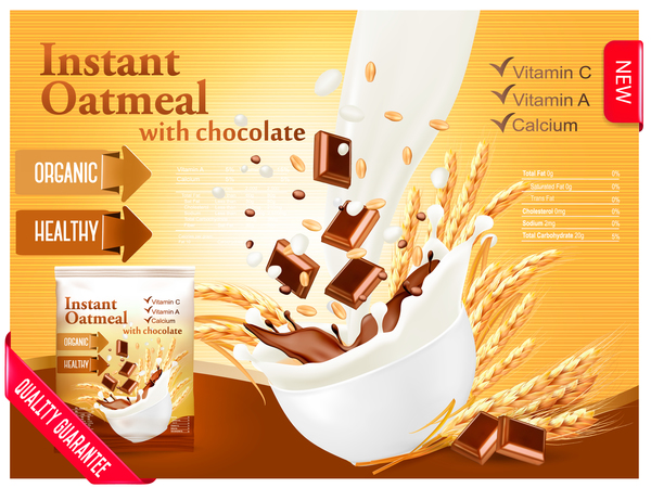 instant oatmeal with chocolate poster vector 02