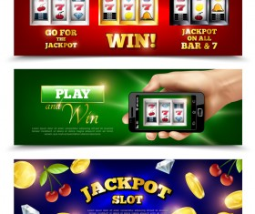 jackpot machine horizontal banners vector