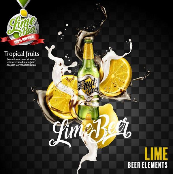 lemon beer poster illustration vectors 01