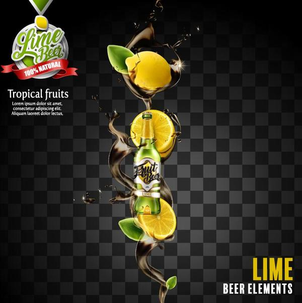 lemon beer poster illustration vectors 02