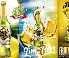 lime beer poster template vector