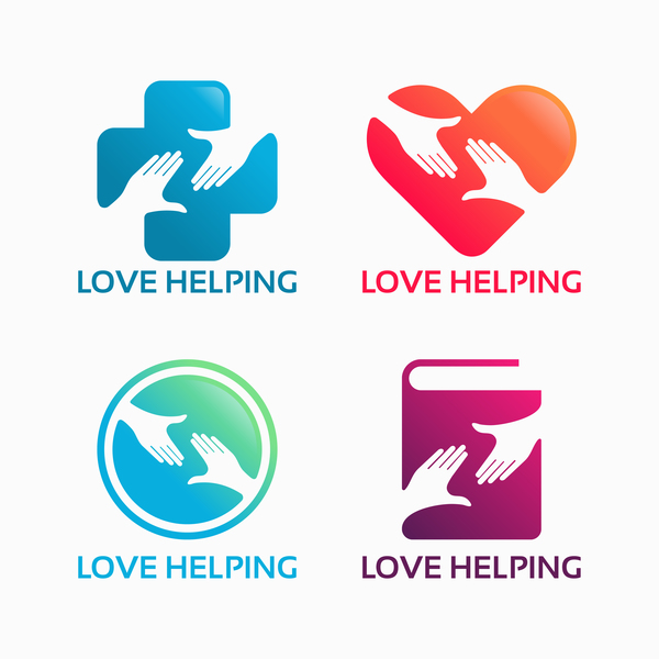 love helping logo vector