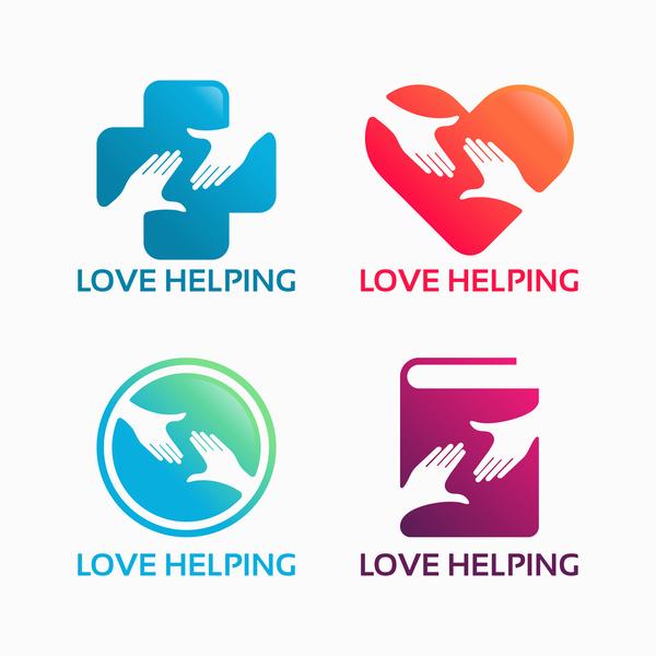 love helping logo vector