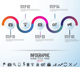 media symbol with infographic vector template 02