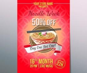 noodle week poster template vector