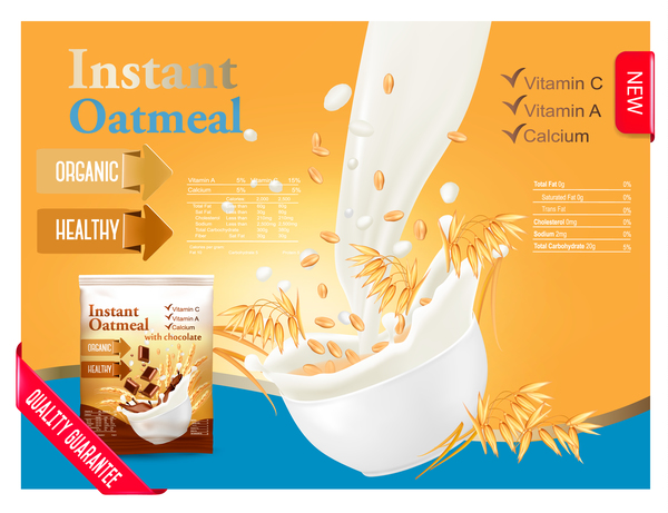 oatmeal with milk poster vector