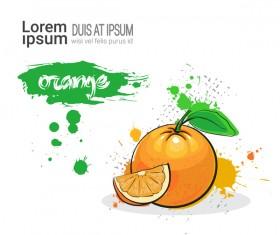 orange watercolor drawn vector