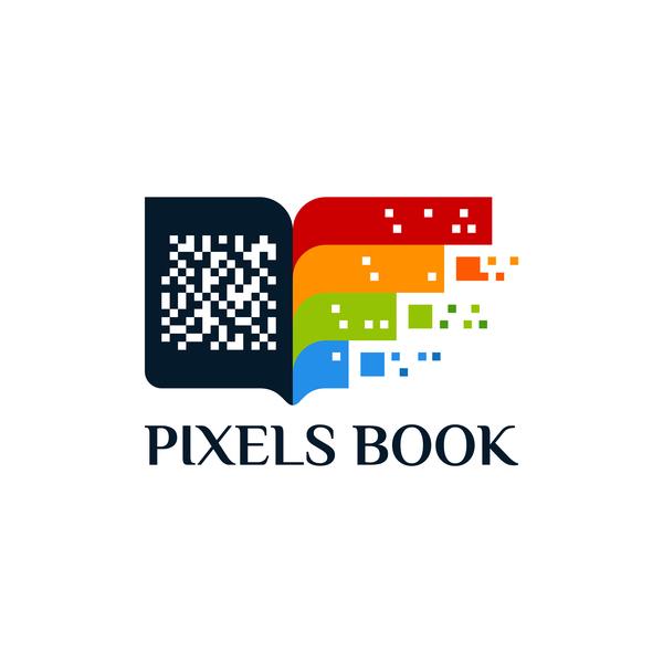 pixels book logo vector