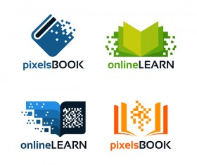 pixels book with online learn logo vector