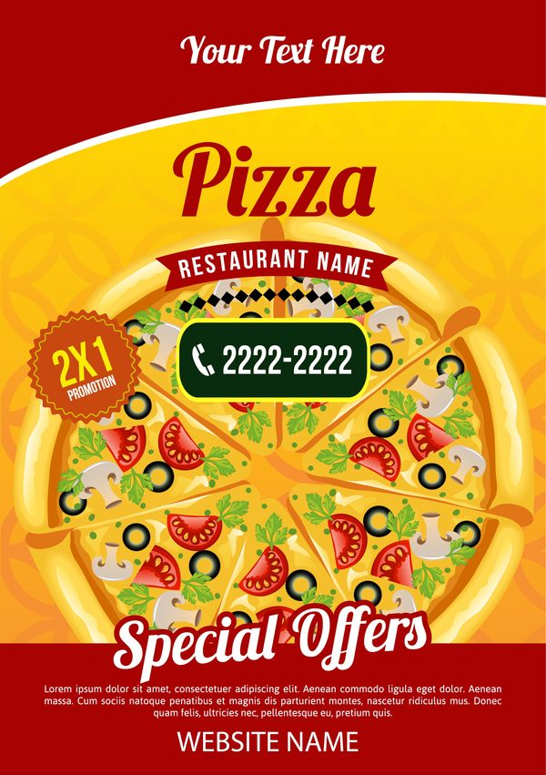 pizza poster template vector