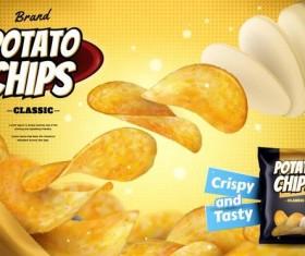 potato chips poster template vectors