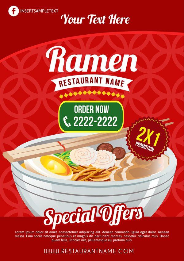 ramen restaurant poster template vector