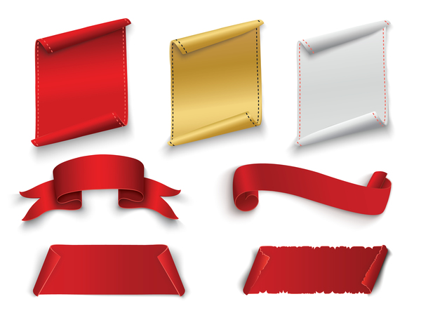 red ribbon with banners vector set