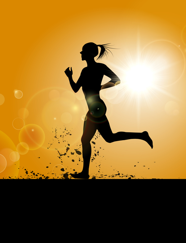 running girl silhouette vector